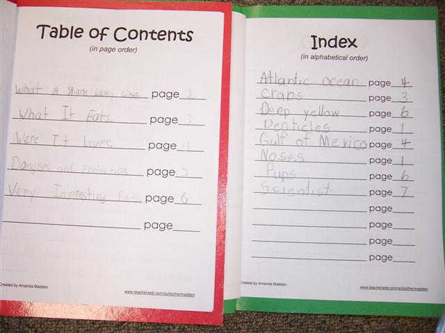 Table Of Contents For Kids Templates Student template